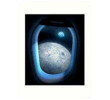 Earth and Moon From Orbit Art Print