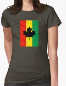 Rasta Reggae Maple Leaf Flag Womens Fitted T-Shirt