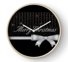 Merry Christmas Sparkle Ribbon Clock
