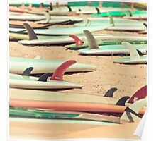 Retro Beach Surfboard Poster