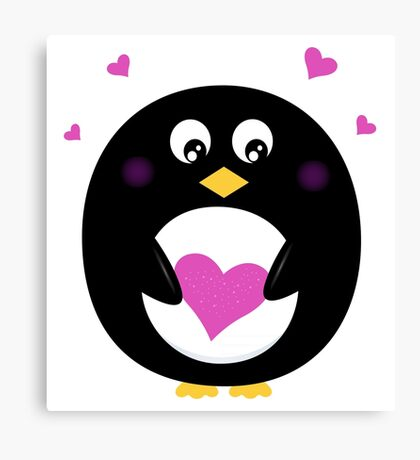 New stylish penguin with heart : black pink Canvas Print