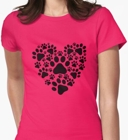 Pet Cat Dog Paws Heart Womens Fitted T-Shirt
