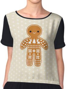 Sweater Pattern Gingerbread Cookie Chiffon Top