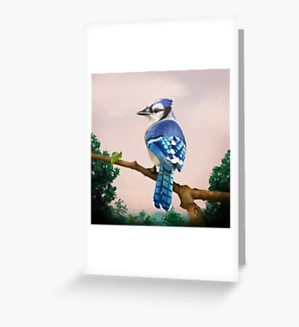 Blue Jay in Tropical background Greeting Card