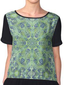 Green Lace Pattern Chiffon Top