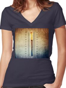 matchstick thermometer Women's Fitted V-Neck T-Shirt