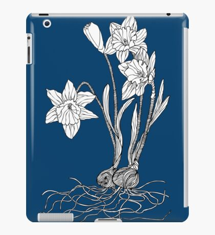 Daffodils on Midnight Blue Background iPad Case/Skin