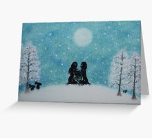 Couple and Lyre in the Snow:the Song of Life Greeting Card