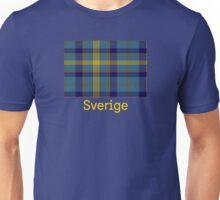 Sverige, Swedish Flag in Plaid on Blue Unisex T-Shirt