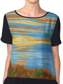 Serenity, Coastal Art Chiffon Top