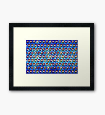 Green and Blue Christmas Elves Framed Print