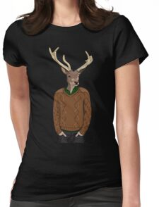 Anthropomorphic hipster deer man print Womens Fitted T-Shirt