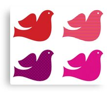 Stylized retro doves set : pink red Canvas Print