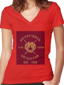 Gryffindor Quidditch - Team Captain Women's Fitted V-Neck T-Shirt