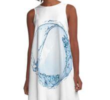Blue water drop over white background. 3D illustration A-Line Dress