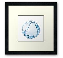 Blue water drop over white background. 3D illustration Framed Print