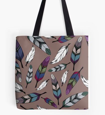 Colorful tribal feathers print. Vector illustration Tote Bag