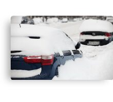 car covered with snow Canvas Print