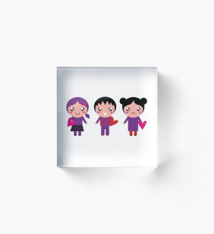 Little cute Emo kids for Valentines day Acrylic Block