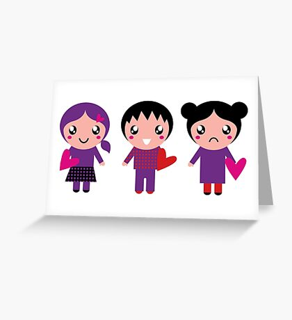 Little cute Emo kids for Valentines day Greeting Card