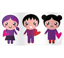 Little cute Emo kids for Valentines day Poster