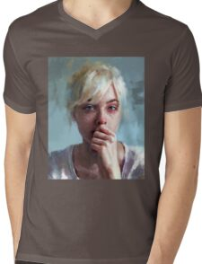 crying portrait Mens V-Neck T-Shirt