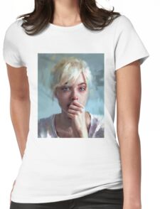 crying portrait Womens Fitted T-Shirt