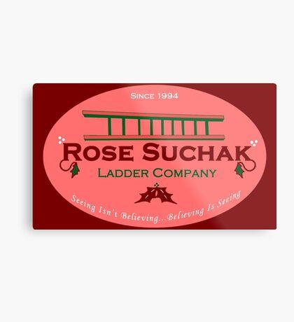 Arose Such A Clatter (Rose Suchak Ladder) - Red Metal Print