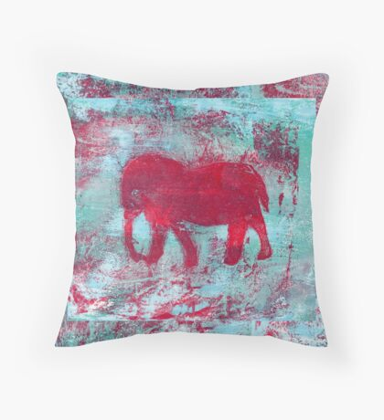Elephant Red on Blue Throw Pillow