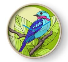 Blue tropical bird in green leaves print Clock