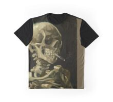 cigarette smoking skull colour block Graphic T-Shirt