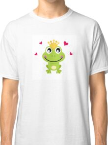 Frog prince. Vector cartoon illustration : green Classic T-Shirt
