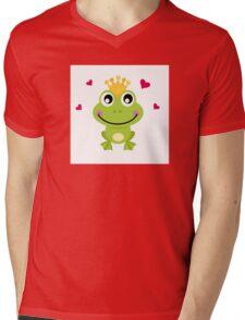 Frog prince. Vector cartoon illustration : green Mens V-Neck T-Shirt
