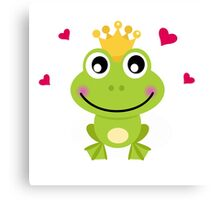 Frog prince. Vector cartoon illustration : green Canvas Print
