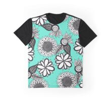 Black White Bohemian Hand Drawn Flowers on Teal Graphic T-Shirt