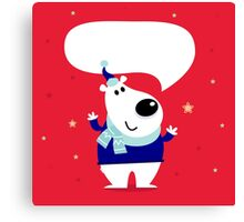 Funny polar bear on red snowing background Canvas Print