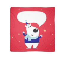 Funny polar bear on red snowing background Scarf