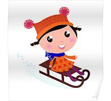 Cute Girl sledding in Winter : Cartoon illustration Poster