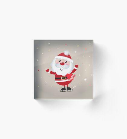 Retro stylized illustration of Santa man. Red Acrylic Block