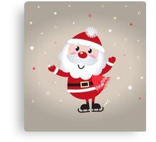 Retro stylized illustration of Santa man. Red Canvas Print