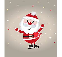 Retro stylized illustration of Santa man. Red Photographic Print