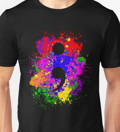 Semicolon Paint Splatter Unisex T-Shirt