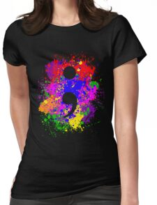 Semicolon Paint Splatter Womens Fitted T-Shirt