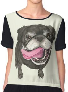 Black Pug Chiffon Top