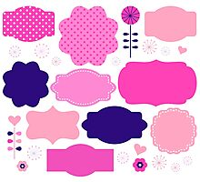 Colorful vintage labels : Girly pink. Original gift idea Photographic Print