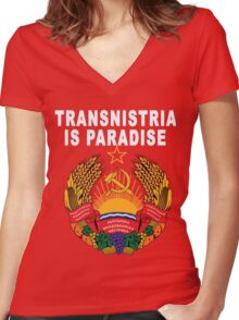 Soviet Transnistria Communist Emblem Women's Fitted V-Neck T-Shirt