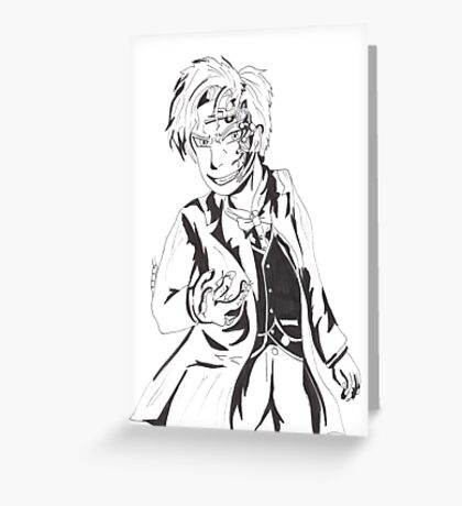 Mr Clever - Black and White Greeting Card