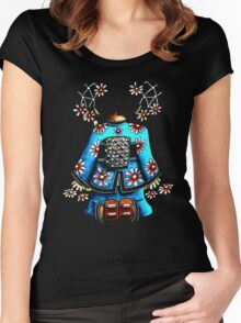 Asia Blue on Black TShirt by Karin Taylor Women's Fitted Scoop T-Shirt