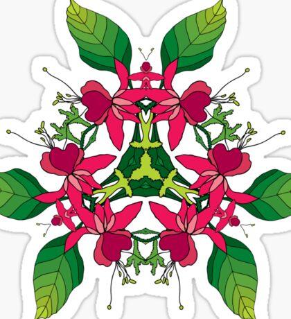 Psychedelic jungle kaleidoscope ornament 5 Sticker