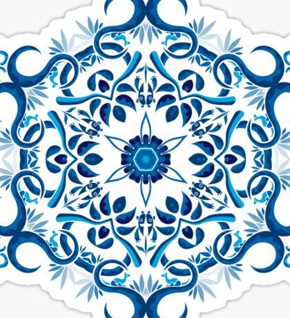 Psychedelic jungle kaleidoscope ornament 8 Sticker